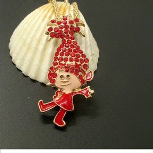 Jewelry - Crystal Red Girl Poppy Troll Necklace/ Brooch Pin